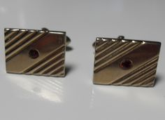 Swank ruby cuff links, gold tone tone, rectangular, Vintage Style, Father's Day gift, men's accessories gifts for men, Gingerslittlegems by GingersLittleGems on Etsy