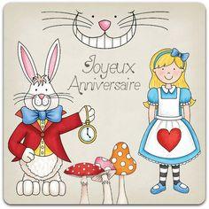Carte double faite-main Bon Anniversaire Alice au Pays des