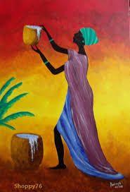 Resultado de imagen para pinturas africanas acrilico African Colors, African Theme, Afrique Art, African Art Paintings, Caribbean Art, Black Artwork, Afro Art, African American Art, Black Women Art
