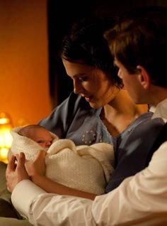 Downton Abbey  Tom, Sybil, and their daughter