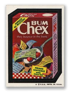 Topps Wacky Packages  4th Series 1973 BUM CHEX CEREAL