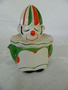 ~Vintage Japan Hand Painted Ceramic Two Piece Clown Circa 1930-1940's~