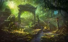 Living room home wall decoration fabric poster fantasy art Asian architecture stream Fantasy Hd, Fantasy Garden, Fantasy Kunst, Fantasy Forest, Fantasy World, Fantasy Art Landscapes, Fantasy Landscape, Forest Landscape, 1920x1200 Wallpaper