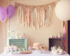 Shabby chic first birthday party love the scrap fabric layered