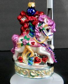 """Christopher Radko 1999 Sweet Carousel Horse Glass Ornament 5.5"""" T Christmas #ChristopherRadko"""