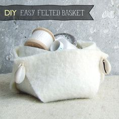 This decorative felt basket is easy to whip up, costs next to nothing, and can be made to match practically any decor style.  When you see how simple this project is, you will have them for every season end every room.  Irina from Irina's Cute Box walks you through the process in the following