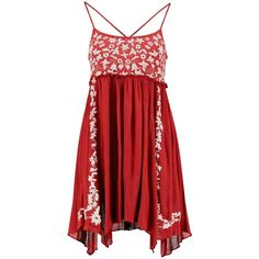 Boohoo Liz Embroidered Hanky Hem Sundress (€16) ❤ liked on Polyvore featuring dresses, red party dresses, bodycon party dresses, body con dresses, red bodycon dress and red sundress