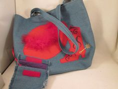 UPCYCLE ON SALE Denim Purse Tote Shopper Red by VintageBADTIQUE