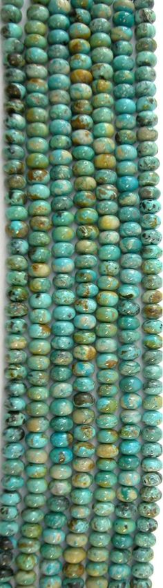 RARE McGinnis Turquoise (NV) 8mm Rondell Beads, 9in Strand