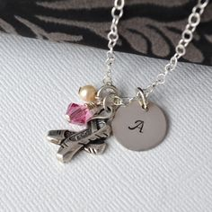 Hand-Stamped Ballet Necklace with Initial Charm. $42.00, via Etsy.