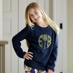 Girls Navy Lightweight Pullover with Lime Sparkle Initials – Lolly Wolly Doodle