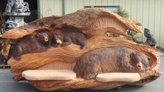 Here is a Custom Carving done right here in our shop by Champion Wood Carver Jeff Samudosky. We make custom carvings and benches of all sizes. This one is 12' long x 6.5' Wide and weighs in at 4100lbs.