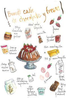 Bundt cake de chocolate y fresas