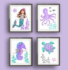 Mermaid bathroom kids art, girls bathroom art, teal purple pink nursery art, mermaid bedding art prints