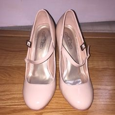 Journee Collection maryjane pumps Beautiful patent nude pumps! Worn once for less than 4 hours! No imperfections! Comes with original box! Journee Collection Shoes Heels