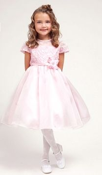 Pink Organza Flower Girl Dress with Lace Bodice -