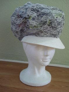 1970s White Gray Lace Hip Hop Soul Train Newsboy by bycinbyhand, $22.00