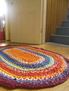 Rag Rug Large Tuscan Mediterranean Colour by EarlyMorningProjects