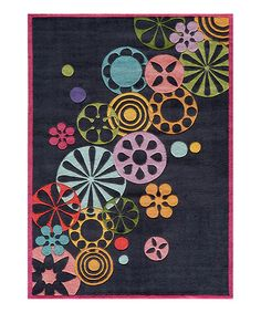 Take a look at this Black Falling Flowers Rug by Lil Mo by Momeni Rugs on #zulily today!