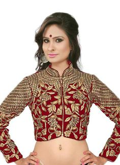 Red Flower Valley Bulk Blouse With Embroidered Work