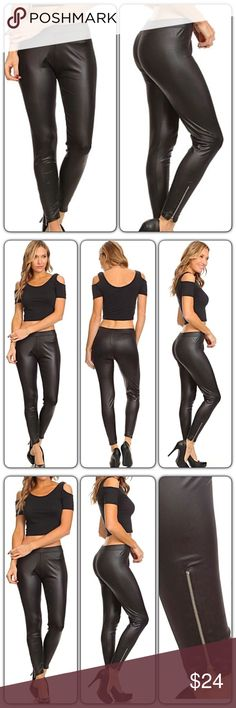 "Stunning Faux Leather Zipper Leggings O/S M-XL Stunning & sexy faux leather leggings with banded high waist & zipper ankles.  90% Polyester - 5% Spandex - Lightweight   One Size Fits Most (M-XL)  Inseam 28.5"" M L XL Pants Leggings"