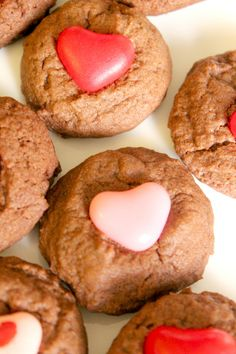 Valentine's #Cookies Recipe Chewy Delicious brownie-like Valentine's drop cookies topped with a heart candy. #SmartCookies #Ad