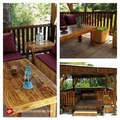 Porch made with pallets Pallet Furniture Tutorial, Palette Diy, Porche, Outdoor Furniture, Outdoor Decor, Patio, Pallets, Table, Home Decor