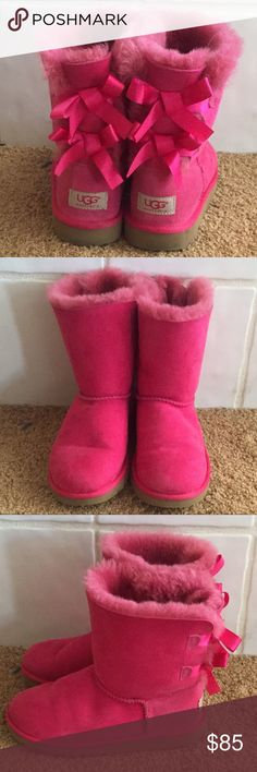 Pink UGG boots kids Sz 3 Bailey Bow Pink Ugg Boots. Kids Size 3(not toddler). Excellent condition. Only worn a couple times. No trades.. UGG Shoes Boots