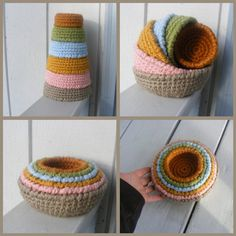 Montessori Toy - Organic  Cotton Nesting, Sorting, Stacking Bowls-Set of Six -  Made to Order. $45.00, via Etsy.