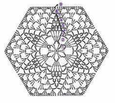 Crochet lace flower hexagon diagram that can be used for blouses, blankets and more! More Patterns Like This!