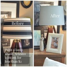 Painting a Fabric Lamp shade - Chalk paint powder project. Did you know you can paint a fabric lamp shade using chalk paint powder (BB Frosch) mixed with flat latex based paint. Its a true game changer