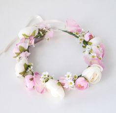 Coroa de Flores Pink e Margaridas Coroa De Flores Cabelo d9f809ce69c