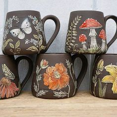 Incredible painted floral and mushroom mugs!