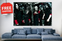 """Canvas poster """"Slipknot"""". Large poster for home decor. 1-2-3-4-5 panel canvas art. Rock-n-roll print canvas set for room decoration by CanvasPrintingShop, $49.00 USD"""
