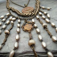 NEW antique rosary necklace art deco early 1900s by Novella