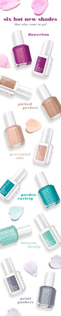 The pink one! Bold, colorful, fall-in-love fabulous shades that are available in gel too.The spring 2015 collection is here. These floral-inspired polish colors are now in select salons. Find an essie gel salon near you. Essie Nail Colors, Essie Gel, Essie Nail Polish, Nail Polish Colors, Get Nails, How To Do Nails, Hair And Nails, Do It Yourself Nails, Finger