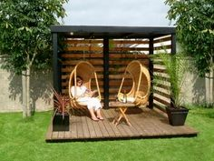 Beautiful Gazebo Designs Creating Contemporary Outdoor Seating Areas More garden pergola Backyard Gazebo, Backyard Seating, Outdoor Seating Areas, Outdoor Pergola, Backyard Ideas, Patio Ideas, Pergola Kits, Pergola Swing, Pergola Roof