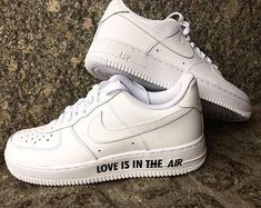 """Custom Nike Air Force 1 """"Love is in the AIR"""" unique wedding sneaker Nike Shoes Air Force, Nike Air Force Ones, Fairytale Weddings, Rustic Weddings, Unique Weddings, Wedding Sneakers, Custom Air Force 1, White Nike Shoes, Aesthetic Shoes"""