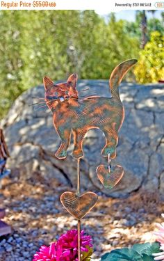 SALE Cat Garden Stake / Outdoor Metal Garden Art / Copper Art / Yard Art / Cat Metal Sculpture / Pet Memorial / Kitty Pet Lovers Gift
