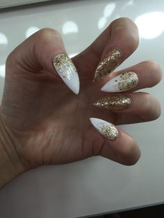 White and gold glitter ombre stiletto nails