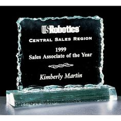 """Our Crushed Ice Acrylic Award features a """"jagged ice"""" edge on a 3/4"""" thick piece of acrylic. A3253 is 4.25"""" tall, A3255 is 5.25"""" tall, and A3257 is 6.25"""" tall and includes free engraving."""