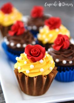 Cool Cupcake Decorating Ideas - Beauty And The Beast Cupcakes - Easy Ways To Decorate Cute, Adorable Cupcakes - Quick Recipes and Simple Decorating Tips With Icing, Candy, Chocolate, Buttercream Frosting and Fruit - Best Party and Birthday Party Ideas for Kids and Adults http://diyjoy.com/cupcake-decorating-ideas