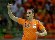 Yvette Broch Photos Photos - Yvette Broch #13 of Netherlands celebrates a goal during the Women's Handball Semi-final match against France at the Future Arena on Day 13 of the 2016 Rio Olympic Games on August 18, 2016 in Rio de Janeiro, Brazil. - Handball - Olympics: Day 13