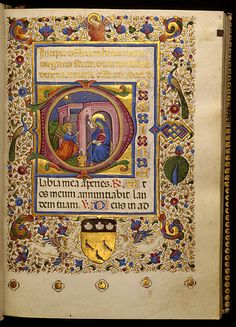 Book of Hours, middle ages.  Each page was individually scripted by a monk in a monastery.  They took years to finish, and regarded as fine works of art.