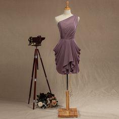 One Shoulder Chiffon Bridesmaid Dress, Dusty Purple Fairy Wedding dress, Womens Formal Evening dress, Short Chiffon Prom dress knee length by harsuccthing on Etsy https://www.etsy.com/listing/199872451/one-shoulder-chiffon-bridesmaid-dress
