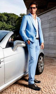 Sleek powder blue suit - the perfect summer suit #matalansummer ...
