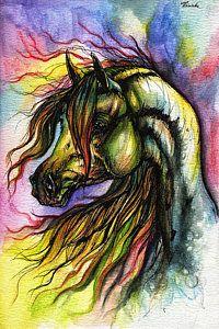 Horse Painting - Rainbow Horse 2 by Angel Ciesniarska. This is so beautiful!