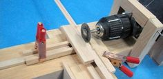 Mini Circular Saw and Lathe by Hubert Sicard -- Homemade mini circular saw and lathe constructed from wood and powered by an electric drill. http://www.homemadetools.net/homemade-mini-circular-saw-and-lathe