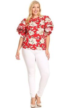 19b8a501685b67 Rosy Red Floral Flutter Sleeve Top - PLUS CURVY