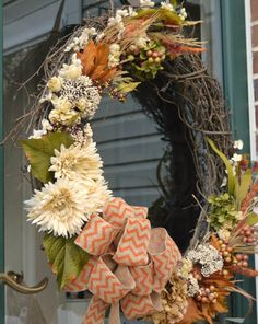 The perfect balance between neutrals and color, this pretty wreath is easy to put together -